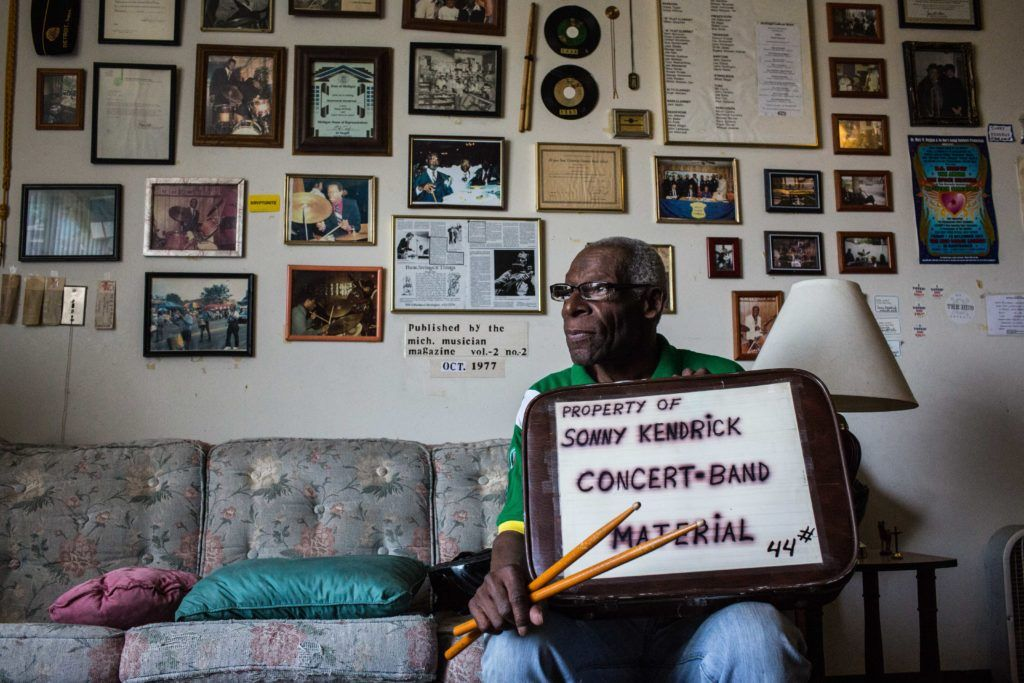 St. Patrick Senior Center member, Sonny Kendrick, who has played drums for Etta James and John Lee Hooker, poses for a photo in his Detroit apartment, where he still practices daily. June 16, 2016.