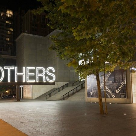 Work No. 1357: MOTHERS, White neon, electric motor and steel (installation view, MCA, Chicago) (2012), Courtesy of the artist and Gavin Brown's enterprise.